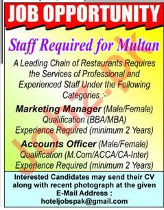 Marketing Manager & Accounts Officer Jobs 2018