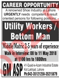 Utility Worker Jobs 2018 in Lahore