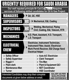 Manager, Supervisors, Inspectors Job Opportunity