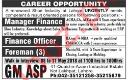 Manager Finance, Finance Officer & Foreman Jobs 2018