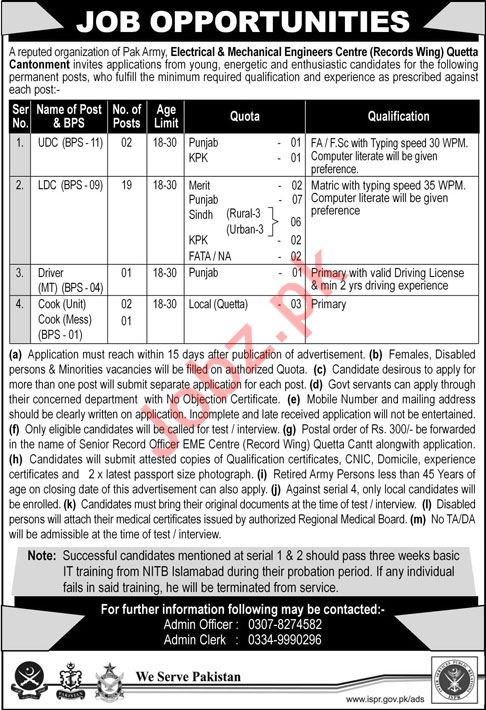 Electrical & Mechanical Engineers EME Quetta Cantt Jobs 2018