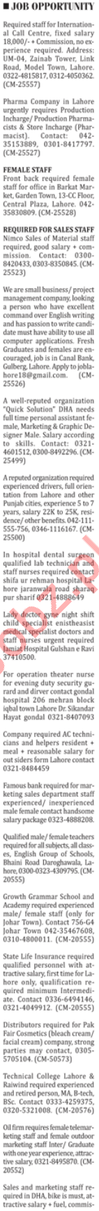 Paramedical Staff & Sales Staff Jobs 2018