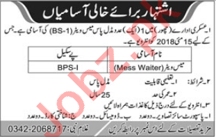 Pakistan Army Jobs 2018 for Mess Waiter