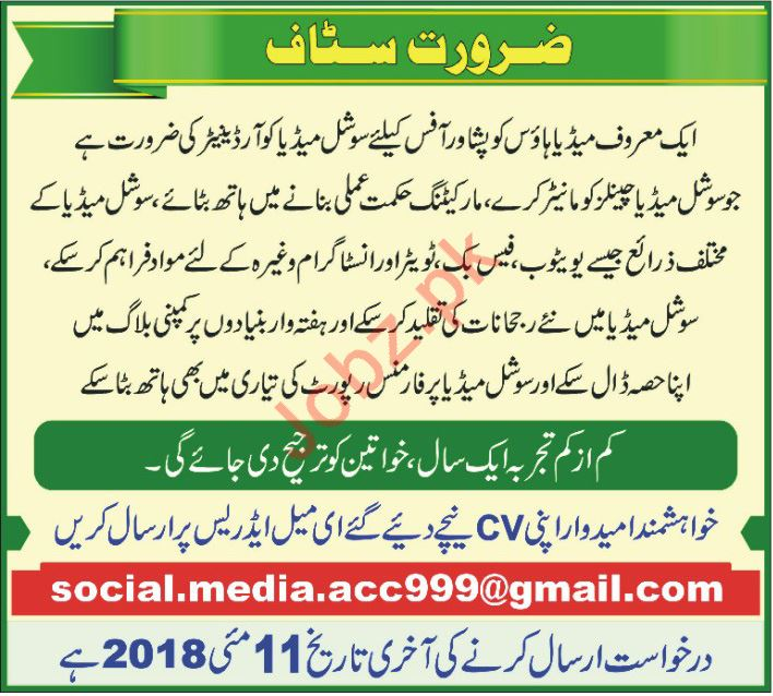 Social Media Coordinator Jobs 2018 in Peshawar