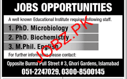 Phd Microbiology ob in Educational Institute