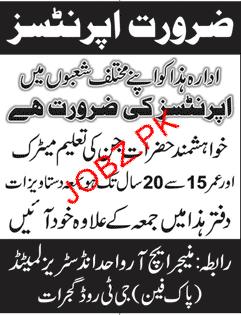 Wahid Industries Limited Gujrat Pak Fan Jobs