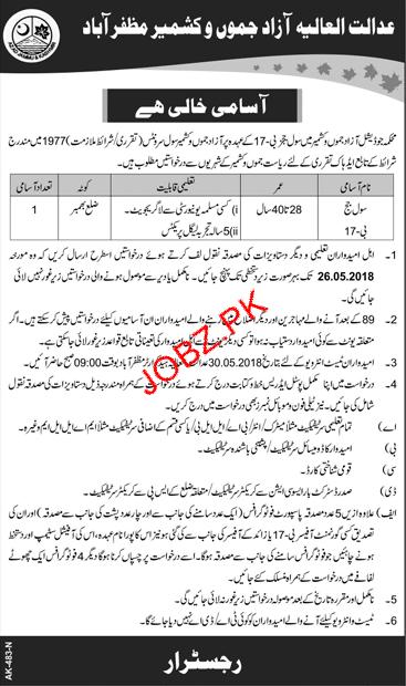 Judicial Department Azad Jammu & Kashmir Jobs