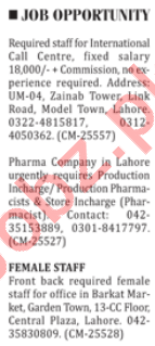 Call Center Staff & Production Pharmacist Jobs 2018
