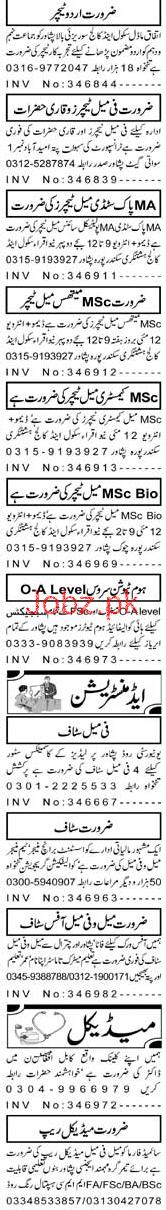 Female Teachers, Urdu Teachers Job Opportunity