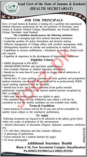 AJK Medical College & Poonch Medical College Jobs Principals
