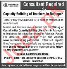 Muslim Aid Rajanpur NGO Jobs 2018 for Consultant