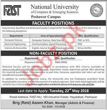 FAST National University Peshawar Jobs 2018 for Professors