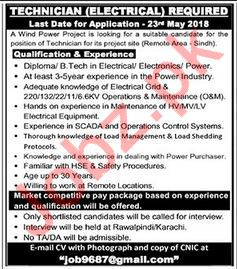 Electrical Technician Jobs 2018 in Sindh