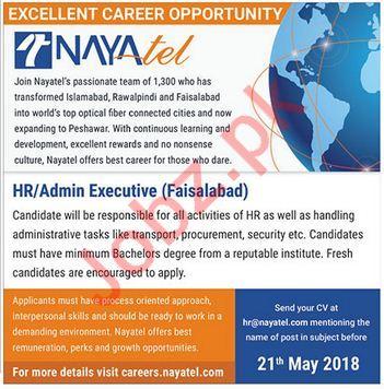 NayaTel Faisalabad Jobs 2018 for Admin Executive