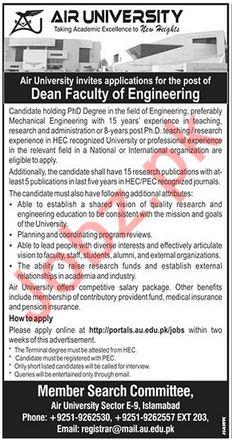 Air University AU Islamabad Jobs 2018