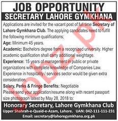 Lahore Gymkhana Club Jobs 2018 for Secretary