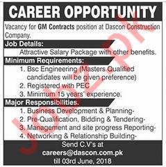 Dascon Construction Lahore Jobs 2018 for GM Contract