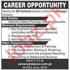 Dascon Construction Lahore Jobs 2018 for GM Contract