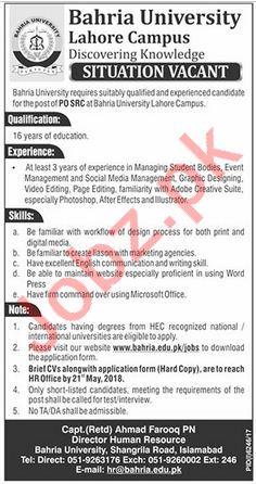 Bahria University Lahore Campus Jobs 2018 for PO SRC