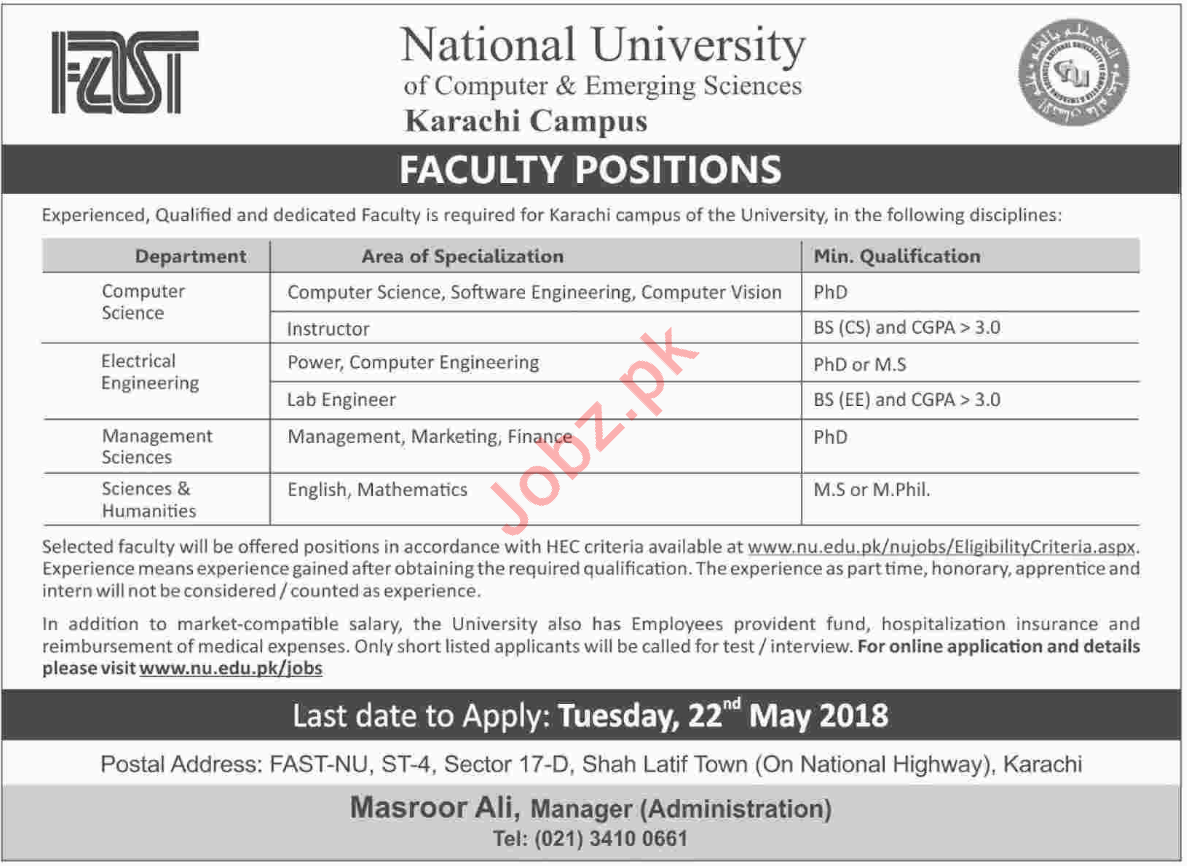 National University of Computer & Emerging Sciences Jobs