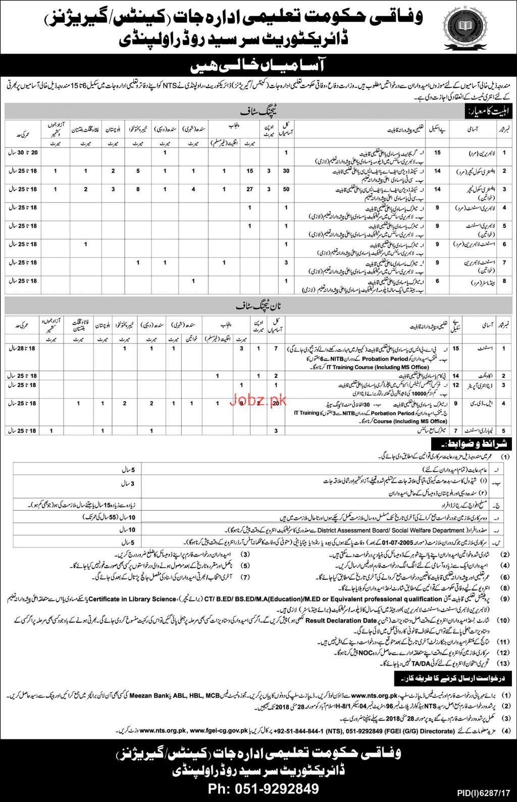 Federal Directorate of Education FDE Teaching Staff Job