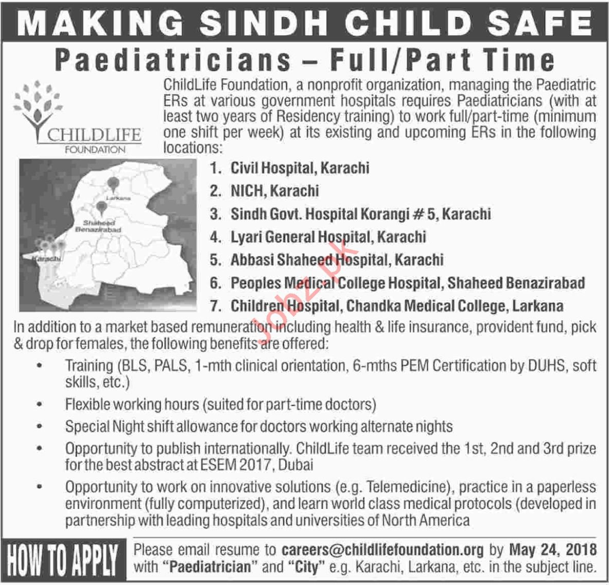 Pediatricians required at Child life Foundation