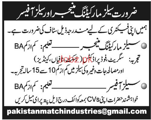Sales Marketing Manager Job in Factory