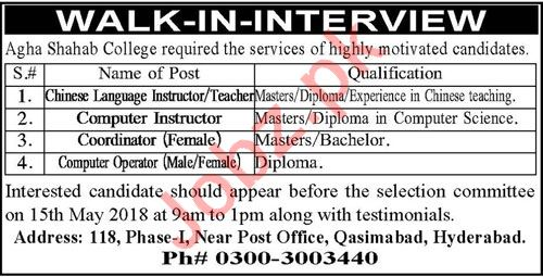 Teachers, Computer Instructor, Coordinator Jobs 2018