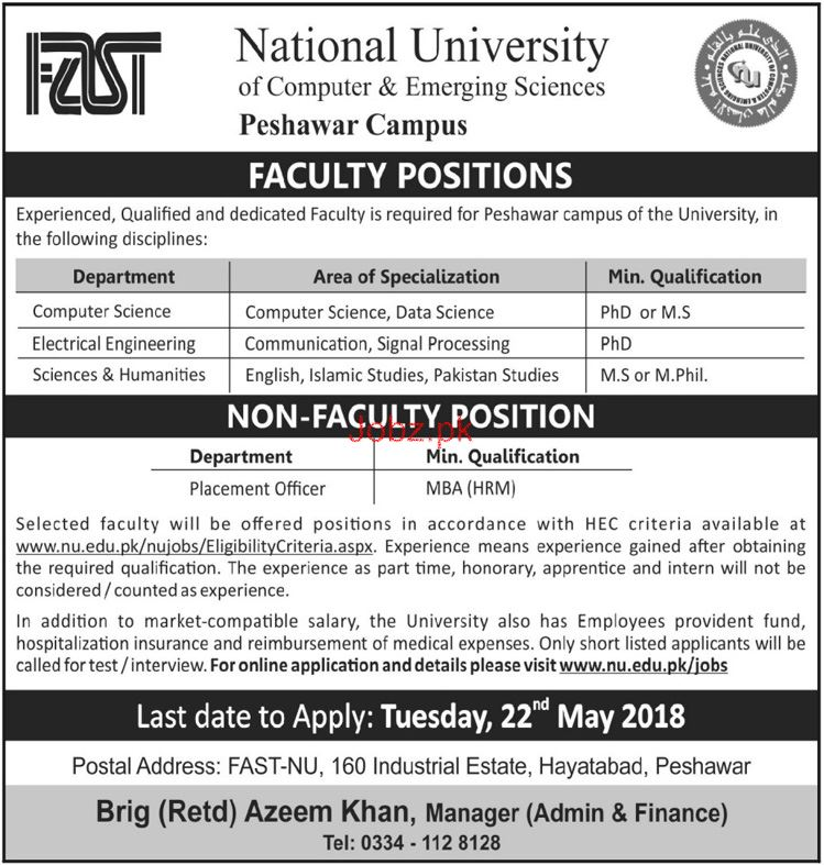 National University of Computer and Emerging Sciences  Jobs
