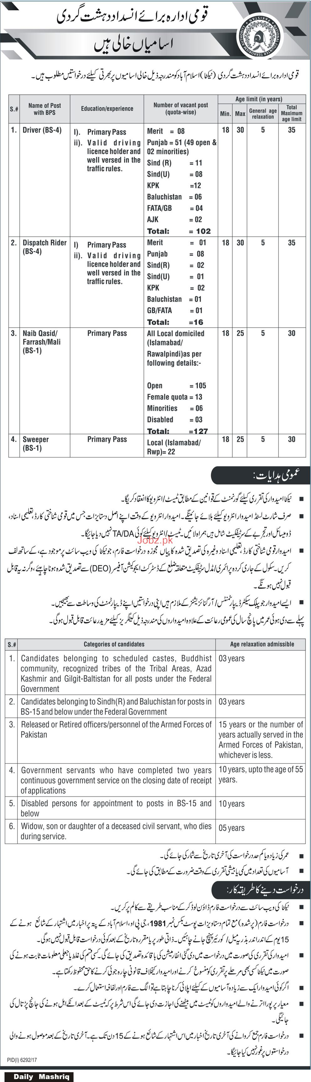 National Counter Terrorism Authority NACTA Job 2018
