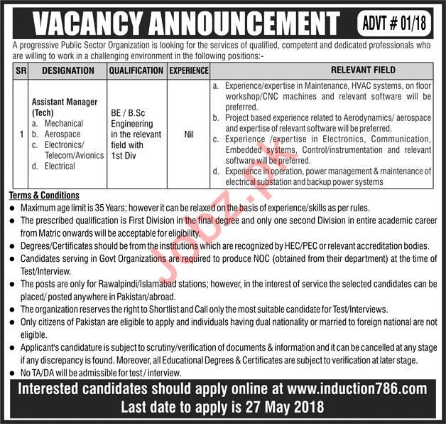 Assistant Manager Technical Job 2018 For Islamabad