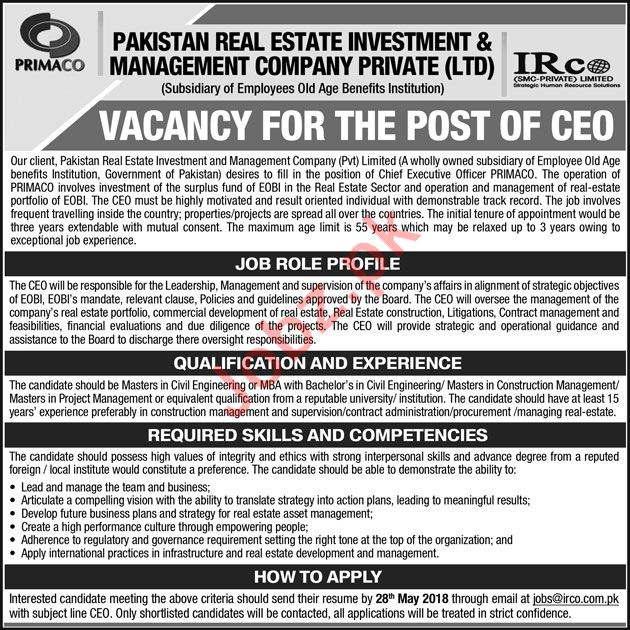 IRCO SMC-Private Limited Job 2018 For CEO