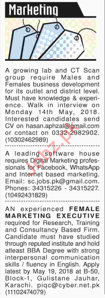 Marketing & Sales Jobs 2018 in Karachi