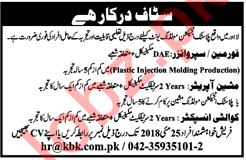 Foreman, Machine Operator & Quality Inspector Jobs 2018