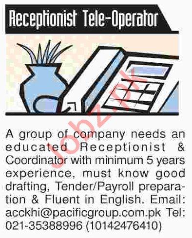 Receptionist, Telephone Operator & Coordinator Jobs 2018