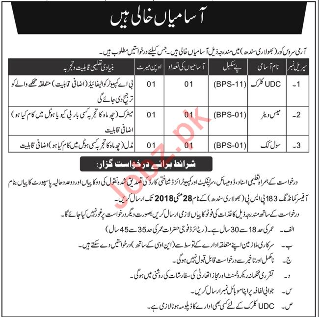 Army Service Corps Bholari Jobs 2018 for Clerks