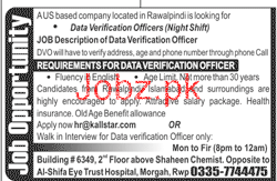Data Verification Officers Job in US Based Company
