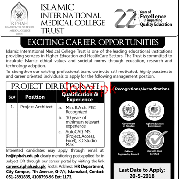 Islamic International Medical College Trust Jobs Open