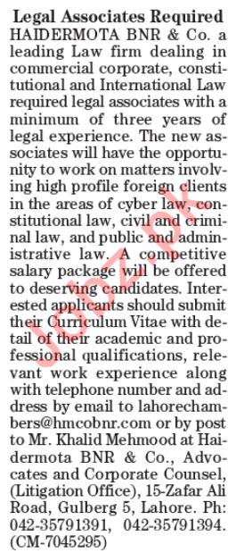 Legal Associates Jobs Open in Lahore