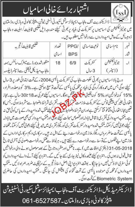 Punjab Employees Social Security Institution PESSI Job 2018