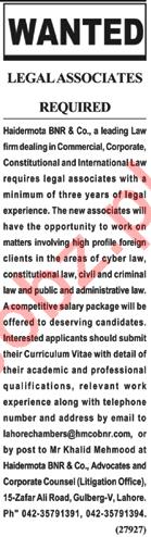 Legal Associate Jobs Career Opportunity