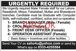 Male / Female Branch Manger, Customer relation Officer Wante