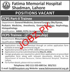 Fatima Memorial Hospital Shadman Lahore Jobs