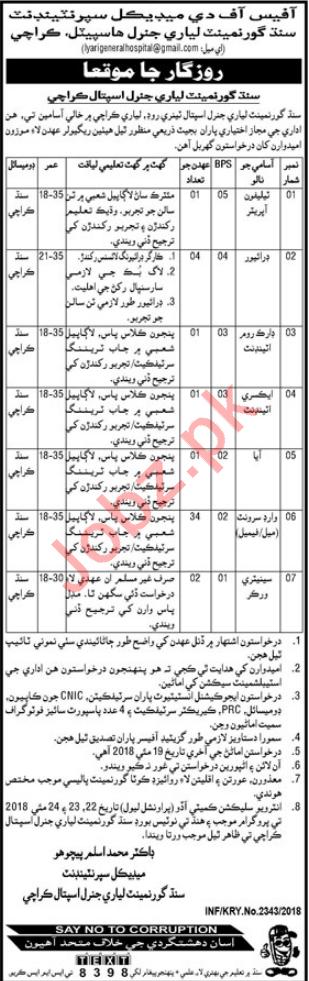 Sindh Govt Lyari General Hospital Jobs 2018