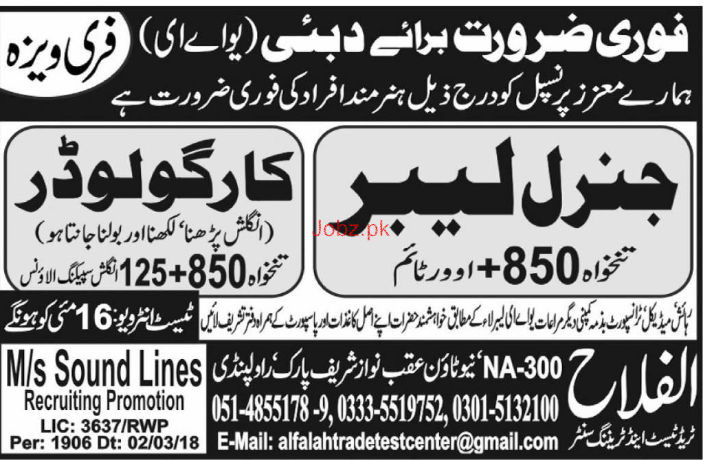 General Labors and Cargo Loaders Job Opportunity