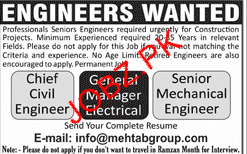Chief Civil Engineers and Senior Mechanical Engineer Wanted