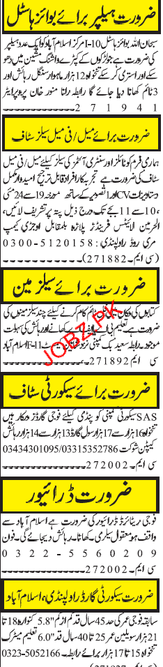 Helpers, Salesmen, Security Guards Job Opportunity