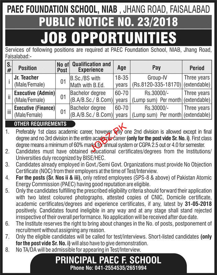 PEAC Foundation School NIAB Faisalabad Teachers Jobs