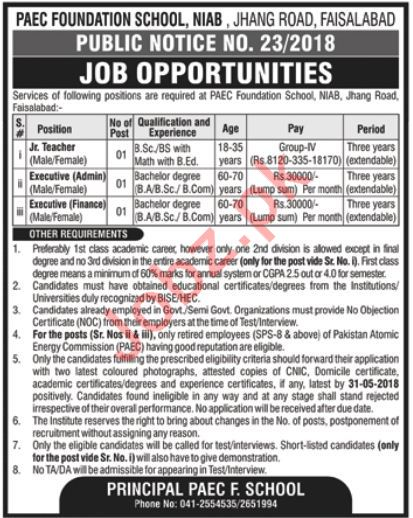 PAEC Foundation School Jobs Jr Teacher & Executives