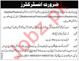 Civilian Instructors Jobs 2018 For PNS Karsaz in Karachi